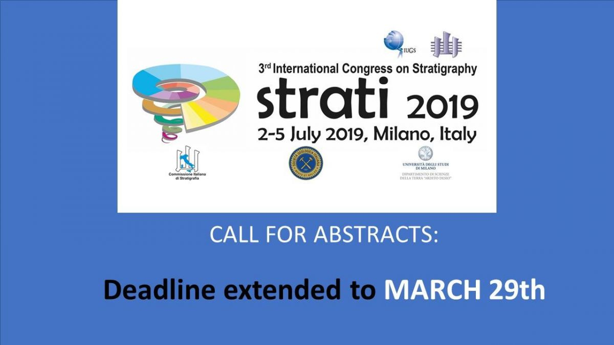 3rd International Congress on Stratigraphy – STRATI 2019 - Deadline extended to March 29th 2017