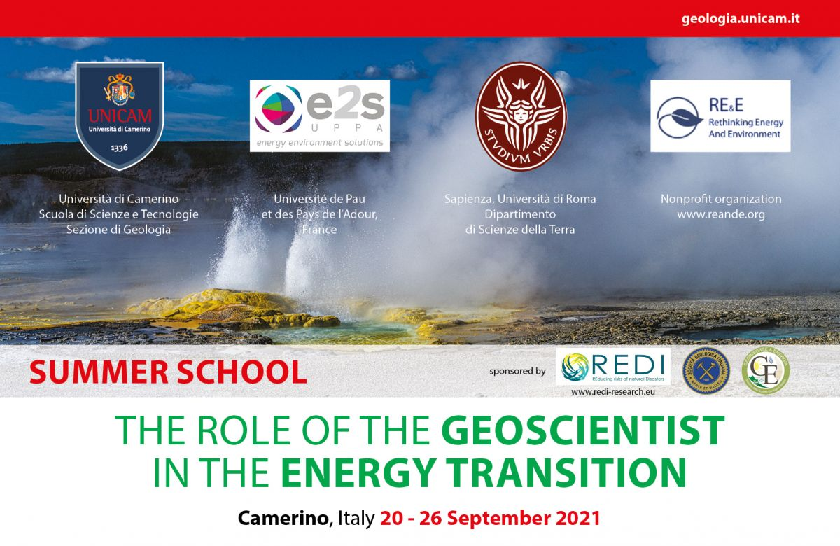 Summer School -  The role of the Geoscientist in the Energy Transition. Camerino, Italy 20-26 September 2021