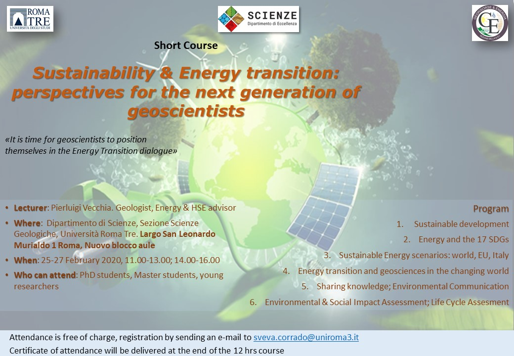 Sustainability & Energy transition: perspectives for the next generation of geoscientists